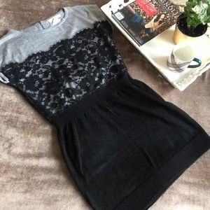 NWT LOFT Lace Gray & Black Sweater Dress